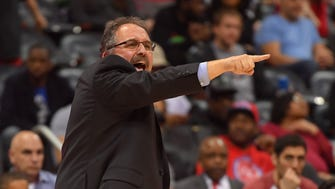 Feb 11, 2018; Atlanta, GA, USA; Pistons coach Stan Van Gundy reacts to a play against the Hawks during the second half at Philips Arena.
