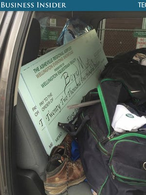 This check for $22,000 represented a rider's winnings at the Winter Equestrian Festival in Wellington, Florida. Asheville Regional Airport was a sponsor for this particular race.