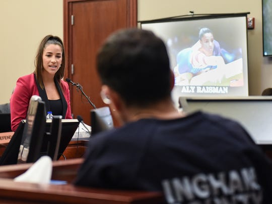 Former Olympian Aly Raisman confronts Larry Nassar in Circuit Judge Rosemarie Aquilina's courtroom Friday, Jan. 19, 2018, during the Day 4 of victim impact statements regarding the former sports medicine doctor, who pled guilty to seven counts of sexual assault in Ingham County, and three in Eaton County.