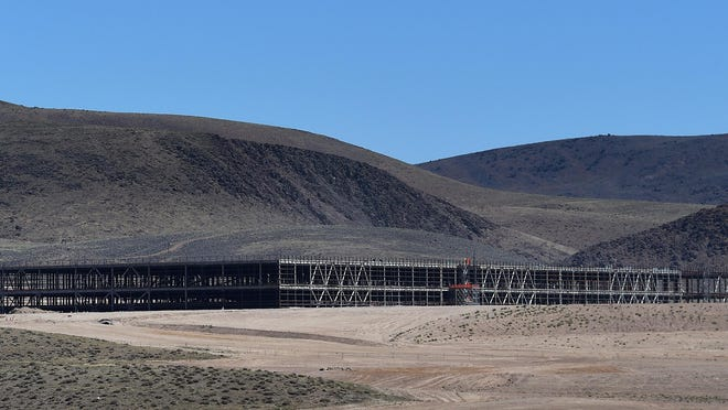 The Tesla Gigafactory is seen east of Reno-Sparks on July 28, 2015.