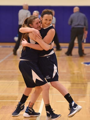 Pine Plains', from left, Tia Fumasoli and Michaella Lamont embrace after winning the Section 9 Class C final versus Seward held at Mount Saint Mary College in Newburgh on Thursday.