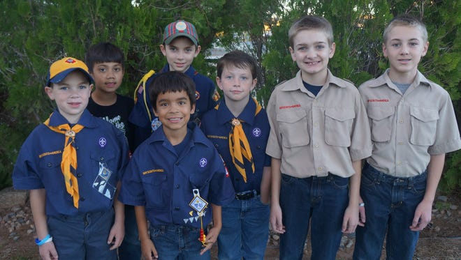 Scouts participating in the food drive are, from left front row, Ezra Baker, Andrew Cox and Josh Matthews. In the back row are, from left, McKay Mulitalo, Hyrum Baker, Chance and Zackary Thornton.