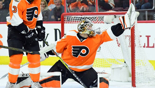 Anthony Stolarz made 29 saves in his debut. He is the first goalie born in New Jersey to play in the NHL.