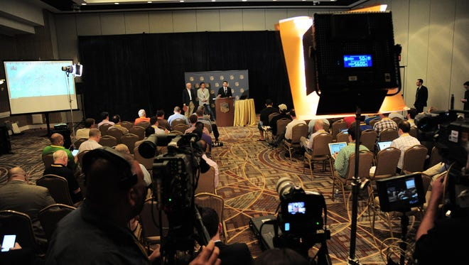A press conference is held in a ballroom inside the Arizona Biltmore Hotel and Resort at the annual NFL Owner's Meetings in Phoenix.