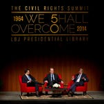 Moderator John Avlon, left to right, Editor-in-Chief of The Daliy Beast, and attorneys David Boies, left, and Theodore B. Olson discuss the issue of gay marriage at the Civil Rights Summit at the LBJ Presidential Library on Tuesday April 8, 2014 in Austin, Texas. The summit opens Tuesday and marks the 50th anniversary of the Civil Rights Act of 1964, which outlawed discrimination in public places based on race, ethnicity, religion or gender. (AP Photo/Austin American-Statesman, Jay Janner, pool)