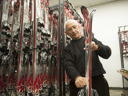 Bob Danzeisen, co-owner of Danzeisen & Quigley in Cherry Hill, shows a pair of rental skis in a 2015 file photo.