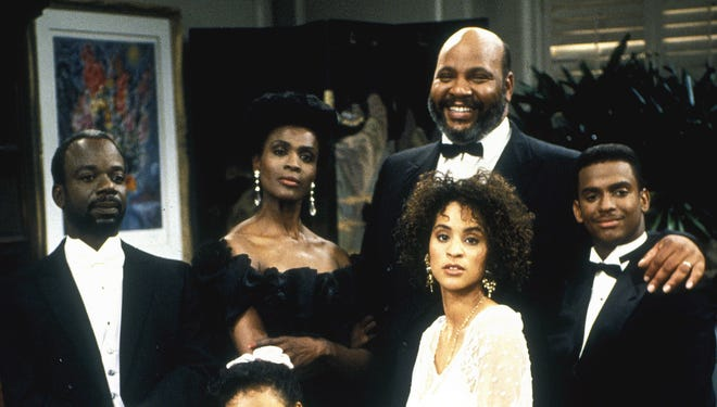 From top (L-R) The Fresh Prince of Bel Air. Joe Marcell, Janet Hubert, James Avery, Karyn Parsons, Alfonso Ribeiro, Tatyana Ali, and Will Smith.