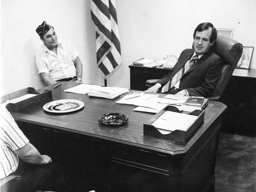 Butler Derrick talks with a constituent in 1975.