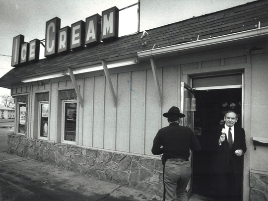 From 1983: While serving 14 years as Iowa's governor, Robert Ray was an admitted ice cream addict. Shown here, one of his first items of business as a private citizen again was to eat an ice cream cone at Goodrich Dairy Store in Des Moines.