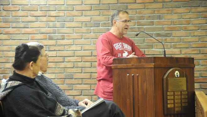 Retired Bucyrus Fire Capt. Mike Hassinger addresses city council Tuesday.