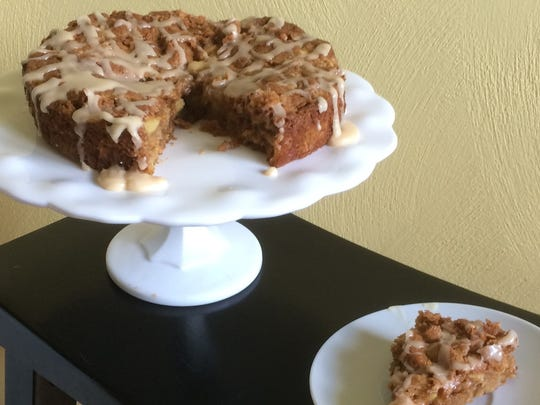 Apple Oatmeal Cake has a brown butter icing.