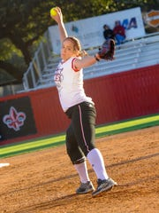 Starting pitcher for the Cajuns, #18 Alex Stewart.