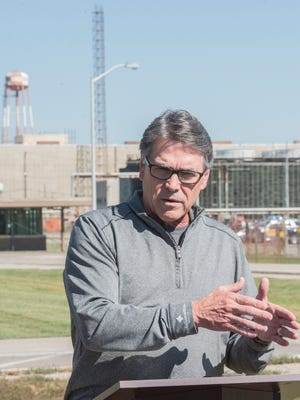 United States Energy Secretary Rick Perry visits the former Portsmouth Gaseous Diffusion Plant in Piketon, Ohio, on September 29, 2017. Perry talks about the importance of the role the United States has played in the development of nuclear energy.