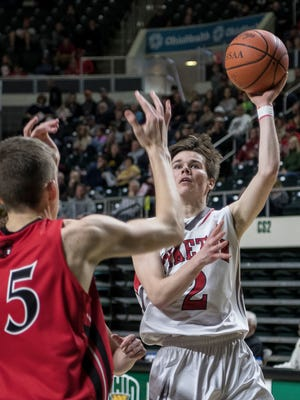 Piketon's Tanner Veach shoots during the Redstreaks' 54-44 win over Alexander in a Division III district semifinal, March 3, 2018 at Ohio University's Convocation Center.
