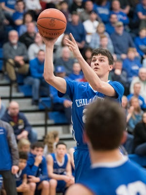 Chillicothe senior Simon Roderick shoots during Wednesday night's 45-30 loss to Hilliard Bradley in a Division I district semifinal at Central Crossing High School.
