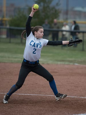 Chillicothe's Julia Hall throws a pitch during a game at Unioto on March 27, 2018. Hall's Cavaliers will host Huntington Tuesday evening.
