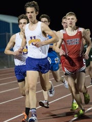 Unioto's Tucker Markko competes in the 3200-meter run Thursday night at Southeastern High School's RL Davisson Track and Field Invitational. Markko won the event in 9:56.62.