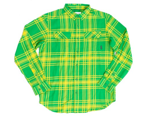 A flannel shirt from Oregon's own Columbia Sportswear includes an Oregon logo tag on the left pocket, $60. uoduckstore.com.