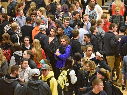 St. Cloud State University students gather Wednesday