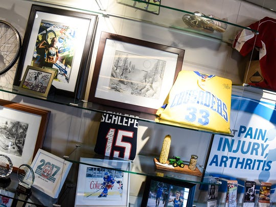 Memorabilia from area athletes who have trained at