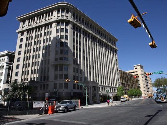 The Mills Building across from San Jacinto Plaza in