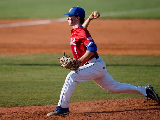 Macon East's Tucker Neven throws a pitch during the