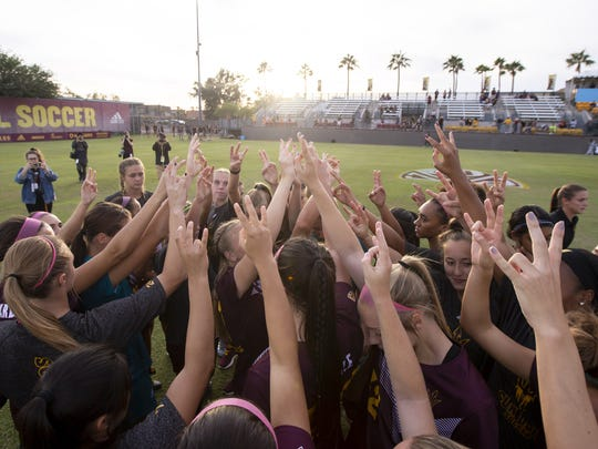 The Arizona State Sun Devils following their 4-1 loss in their season finale against Stanford Cardinal at Sun Devil Soccer Stadium on Sunday, Nov. 4, 2018 in Tempe, Arizona.