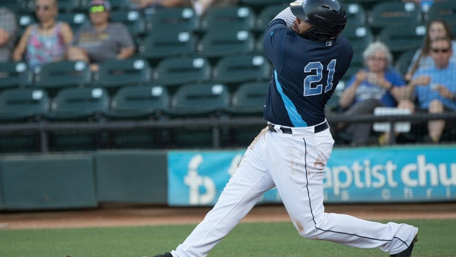 Hooks Jon Singleton's hits a home run during the first inning their game against the RockHounds at Whataburger Field on Wednesday, April 26, 2017.