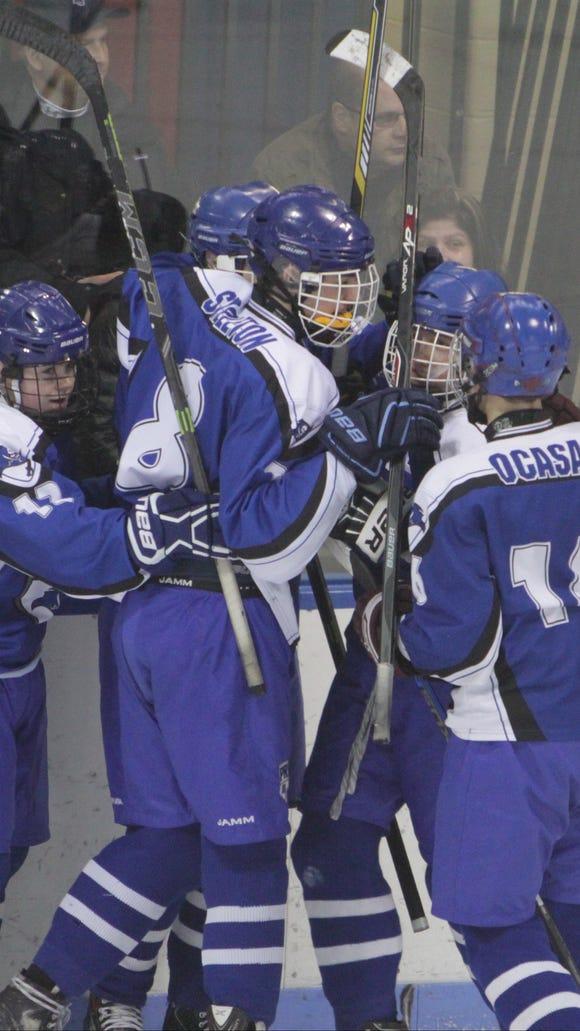 Pearl River celebrates after Thomas Murphy scores in the first period during a Section 1, Division 2 first round playoff game against Ryetown-Harrison at the Playland Ice Casino in Rye on Sunday, February 21st, 2016. Ryetown/Harrison won 7-2.