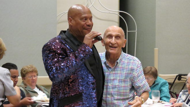 Entertainer Daryl Magill with Joe Bribanti at Martin County Council on Aging's Adult Day Club at the Kane Center in Stuart.