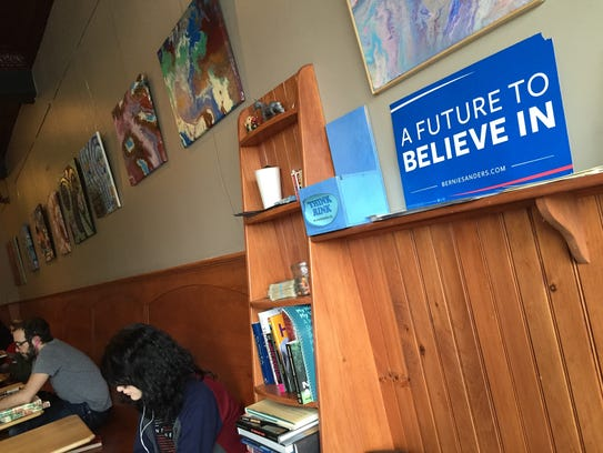 A coffee shop in downtown Keene feeling the Bern