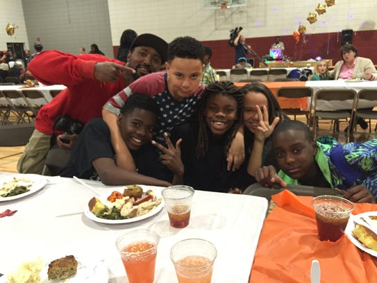 Some of the youngsters at the Southside Thanksgiving