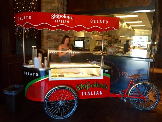 A gelato bike greets folks at the entrance to Skipolini's