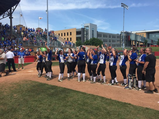 Williamsburg lines up after winning the state championship.