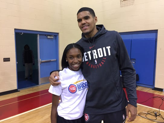 Pistons forward Tobias Harris poses with Jada Parrott,