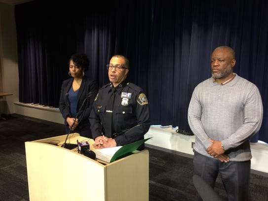 Police Chief James Craig holds a press conference after