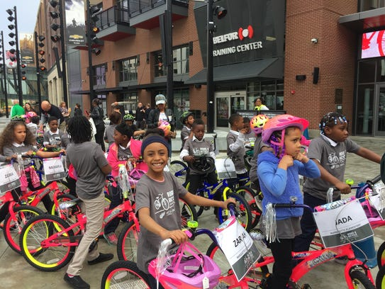 Almost 500 second-graders in Detroit Public Schools Community District received new bikes Tuesday from the Red Wings and Chevrolet. Tuesday, May 22, 22018. Helene St. James, DFP.