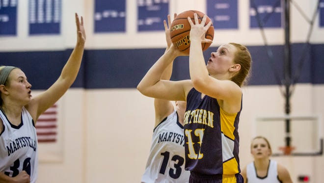 Port Huron Northern's Kendyl Keyes takes a shot during a basketball game Tuesday, Nov. 29, 2016 at Marysville High School.