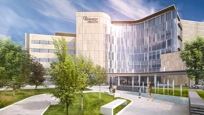 An artist's rendering shows plans for Kennedy University Hospital in Cherry Hill, now midway through a $200 million expansion project. The next construction phase on a new patient tower will begin later in 2017.