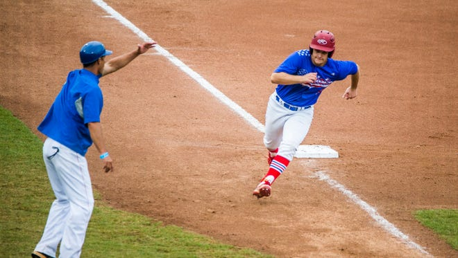 Pace sophomore Chase Bragg runs home against Leto in the class 7A state semifinal at Hammond Stadium in Fort Myers on Wednesday, May 30, 2018.