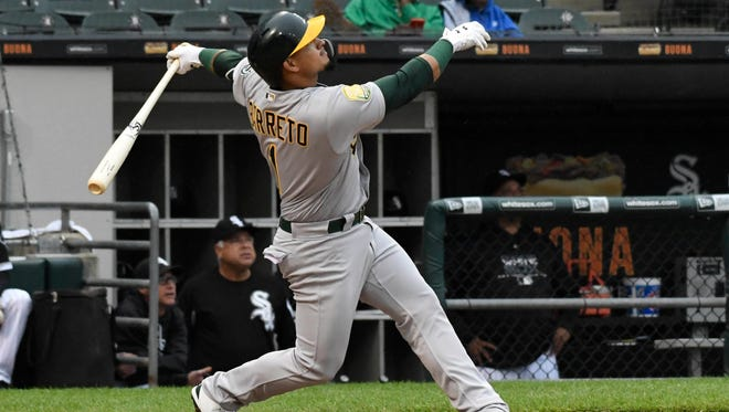 The A's Franklin Barreto has been on fire at the plate over the past week with three homers and 10 RBI.