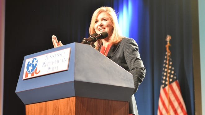 U.S. Rep. Marsha Blackburn speaks at the Tennessee Republican Party's annual fundraiser on Friday, June 8, 2018.