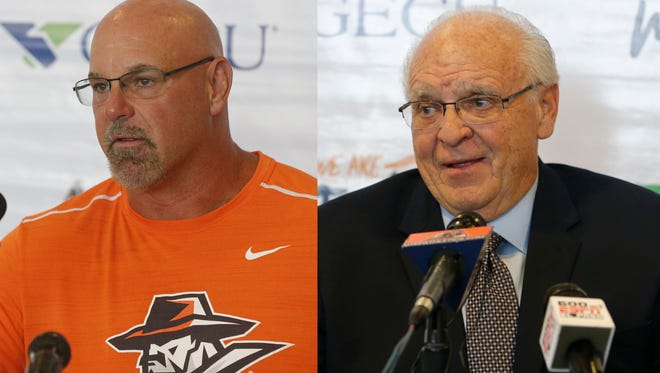 Former UTEP coach Sean Kugler, left, and current interim coach Mike Price.