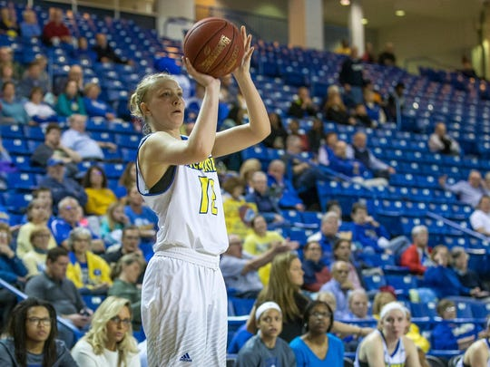 Hannah Jardine unleashes one of her four 3-pointers in Wednesday's Senior Night win.