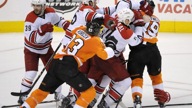 Hartnell's spearing major was retaliation for a slash. A scrum ensued with the Hurricanes.