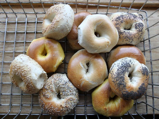 A variety of fresh bagels for sale at The Hot Bagel Bakery in Oakhurst.