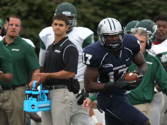 Monmouth Hawks wide receiver Neal Sterling (17) breaks