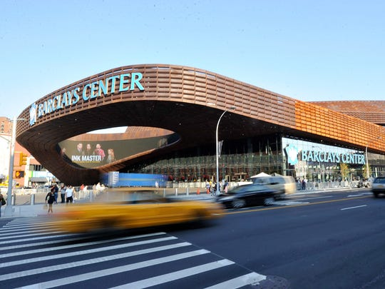 An exterior view of the Barclays Center in the Brooklyn borough of New York City.