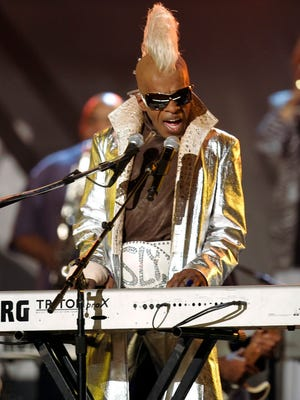 Sly Stone from the group Sly and the Family Stone performs at the Grammy Awards in Los Angeles on Feb. 8, 2006. A Los Angeles jury has awarded $5 million to funk legend Stone in a breach-of-contract suit against his business partners. Jurors on Tuesday, Jan. 27, 2015, found that Stone's ex-manager Gerald Goldstein, attorney Glenn Stone and the company Even Street Productions owed him royalties.