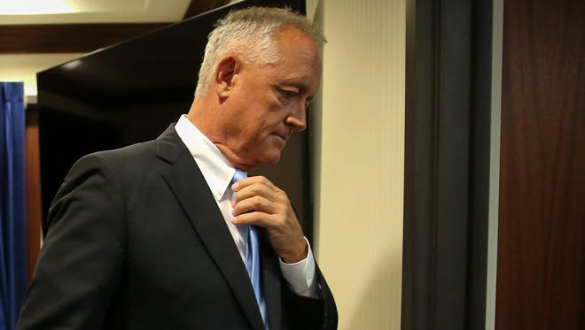 Hamilton County Prosecuting Attorney Joe Deters walks out of the press conference room after announcing there not be a third trial of former University of Cincinnati police officer Ray Tensing in the killing of Sam DuBose, Tuesday, July 18, 2017, at the Hamilton County Prosecutor's Office in Cincinnati.